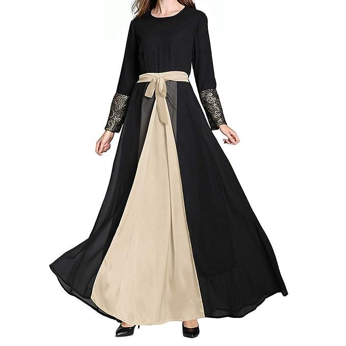 3e25466c2 RISTHY Ropa Musulman Mujer Vestidos Largos Gasa Maxi Vestido Suelta Talla  Grande Musulmán Abaya Dubai Turquia de Verano Islámica Árabe Kaftan Dubai  Empalme ...