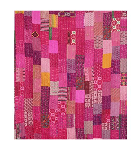 (Pink Hand Stitch Kantha Bed-cover, Silk Patola Cotton Kantha Queen Size Quilt/Blanket)