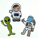 Nasa Space Rocket Spaceman Apollo Alien Embroidered Iron / Sew on Patches (Type-4 (Pack of 3))
