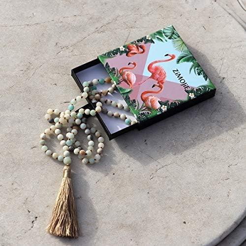 108 Mala Beads Prayer Wrap Bracelet Necklace Hand Knotted Beaded Tassel Necklace for Meditation Rosary