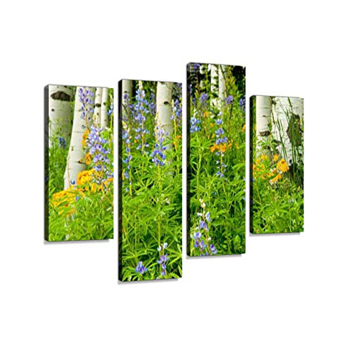 (Beautiful Aspens and Wildflowers Blooming in Colorado.Canvas Wall Art Hanging Paintings Modern Artwork Abstract Picture Prints Home Decoration Gift Unique Designed Framed 4 Panel)