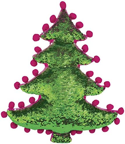 iscream Holiday Tree Shaped 16 Reversible Sequin Soft Fleece Back Accent Pillow