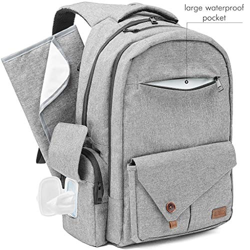 Mens Diaper Bag Backpack for Dad Mom - Large MultiFunction Waterproof Maternity Back Pack Baby Diaper Bag for Men Boys Girls with Stroller Straps Insulated Pocket - Changing Pad - Durable Bookbag Grey