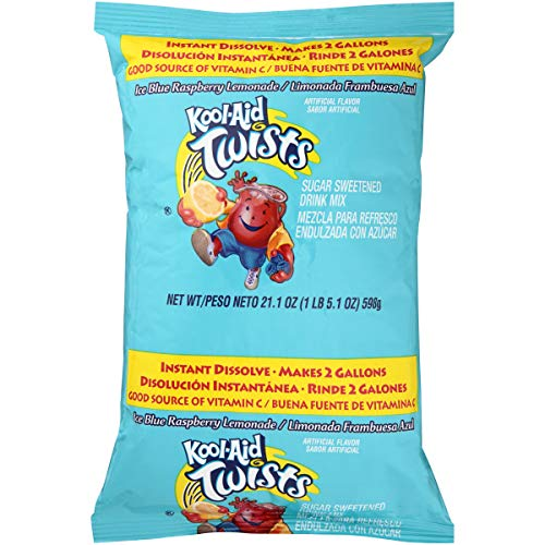 Kool-Aid Blast (Makes 2 Gallons), Blue Raspberry Lemonade Drink Mix, (Pack of 5)