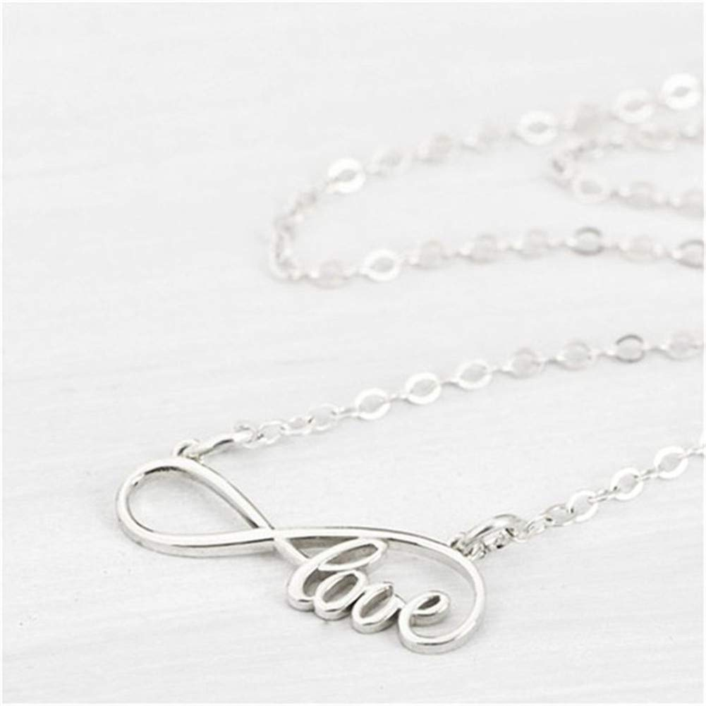 Aineecy Infinity Forever Love Pendant Necklace Simple Good Lucky Number 8 Choker Necklace Statement for Girlfriend Bestfriends