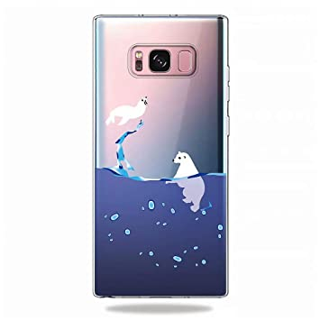 KSHOP Funda Compatible con Samsung Galaxy s8,Carcasa Transparent TPU Silicona Case Cover+Protector de Pantalla - delfín