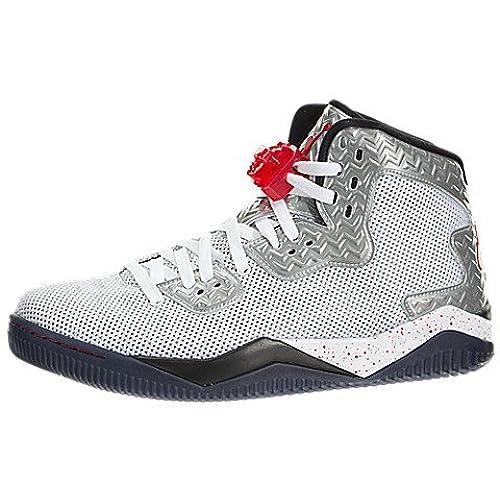 Jordan Nike Men's Air Spike Forty PE White/Fire Red/Black Basketball Shoe  11.5 Men US