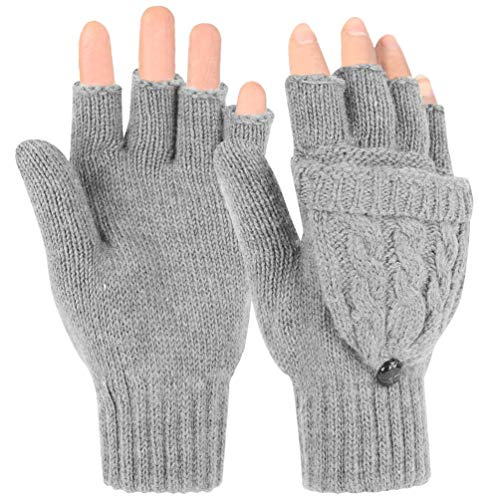 Flip Top Mittens - Novawo Women Winter Wool Blend Fingerless Convertible Gloves with Sturdy Chocolate Buttons Gray One Size