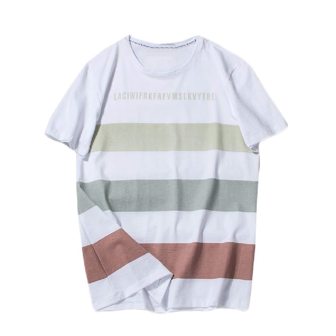Men Round Neck Short Sleeve Summer Stripes Pure Cotton Tee Shirts