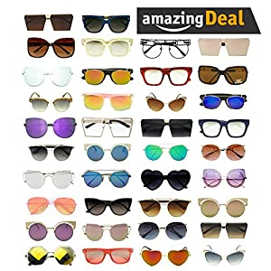 Set of 25 Womens Assorted Colors & Style Small / Oversized Inspired Sunglasses Wholesale Deal (Lot of 25, Assorted)