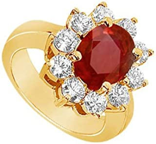 Created Ruby and Cubic Zirconia Engagement Ring 14K Yellow Gold 2.50 CT TGW