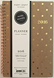 Sugar Paper 2016 Planner 5x8, Weekly/Monthly - Kraft Gold Dots