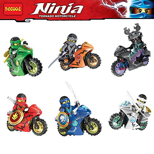 J Cole Halloween Costumes (6pcs/lot compatible NinjagoINGlys mini ninja figures Kai Nya Lloyd Jay Cole Zane with weapons Motorcycle Building blocks toys)
