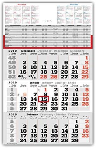 3 Monats Wandkalender 2020 mit Datumschieber in Rot, inkl. Ferienübersichten und Jahresüberblick 2020 und 2021, Dreimonatskalender werbefrei, 3 Monatskalender keine Werbung
