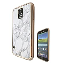 c00924 - Marble Effect Bloggers Favourite Design Samsung Galaxy S5 / S5 Neo Fashion Trend CASE Gold & Clear Gel Rubber Silicone All Edges Protection Case Cover