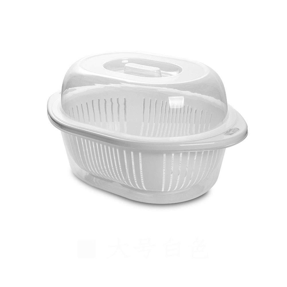Plastic kitchen drain rack with lid storage box rack dustproof sturdy durable 183322.7cm 20.53725.5cm (Color : A, Size : 20.53725.5CM)