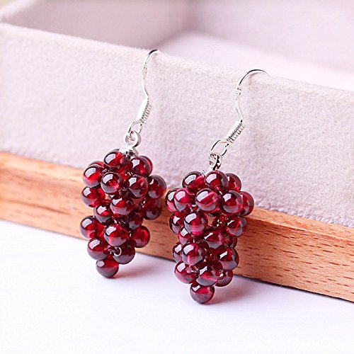 Follsy Natural Burgundy Grape Garnet Earrings 925 Sterling Silver Earrings Earrings Ear Hook Models Compact Ms Birthday Gift ()