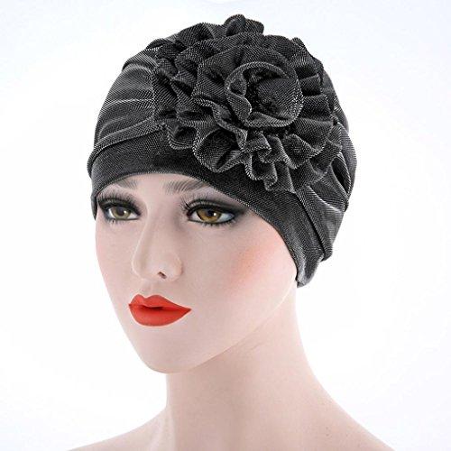 Iuhan Beanie Chemo Cancer Hats for Women, Women Cancer Caps Chemo Hat Beanie Big Flower Muslim Ruffle Scarf Turban Head Wrap Cap (Gray)