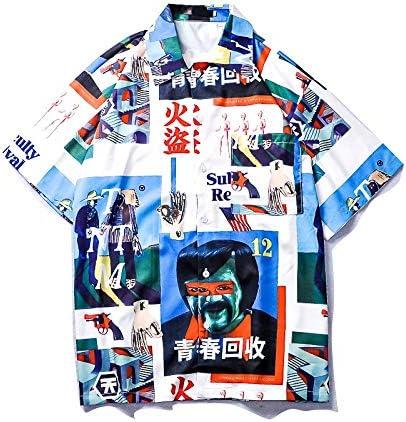 DXHNIIS Camisa de Calle Vintage Hombres Camisa Descubierta de Verano Camisa Retro Frente Corto Trasero Largo Camisa de Hombre Camisa Superior XXL Azul Masculina: Amazon.es: Deportes y aire libre