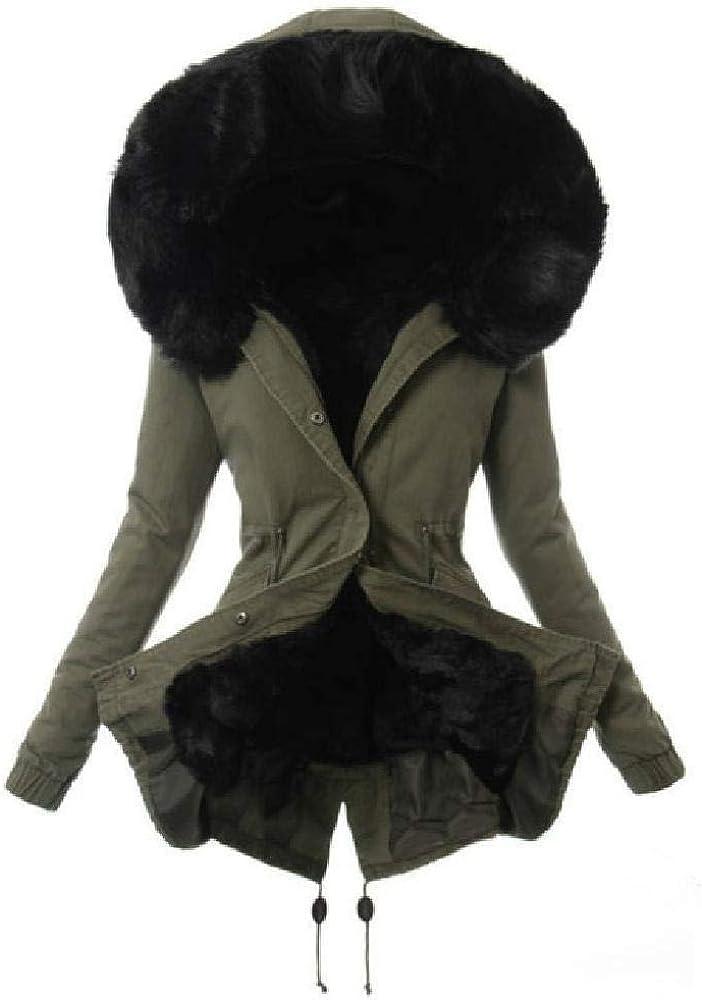 YNPM - Chaqueta de Invierno para Mujer, Cuello de Piel cálida y Delgada, EuropUPC y cordón Americano, Abrigo Largo de algodón cálido, Otoño-Invierno, Mujer, Color Negro (, tamaño S