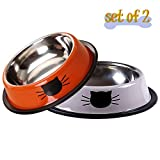 Vonsely Stainless Steel Cat Bowls with Rubber Base, Durable Raised Bowls for Small Pets, Cat Pattern Food and Water Dish, Orange/Grey