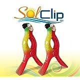 Beach Towel Clips, pegs, clothespins, épingles, pinces à serviette de plage, SolClip Canada, Parrot Red Macaw