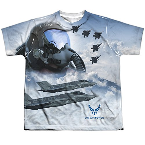 US Armed Forces Air Force USAF Pilots Strike Mode Youth Front Print T-Shirt (Strike T-shirt Youth)