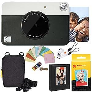 Kodak Printomatic Instant Camera Deluxe Bundle + Zink Paper (20 Sheets) + Deluxe Case + Photo Album + Hanging Frames + Comfortable Neck Strap