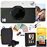 Kodak Printomatic Instant Camera (Black) Deluxe Bundle + Zink Paper (20 Sheets) + Deluxe Case + Photo Album + Hanging Frames + Comfortable Neck Strap