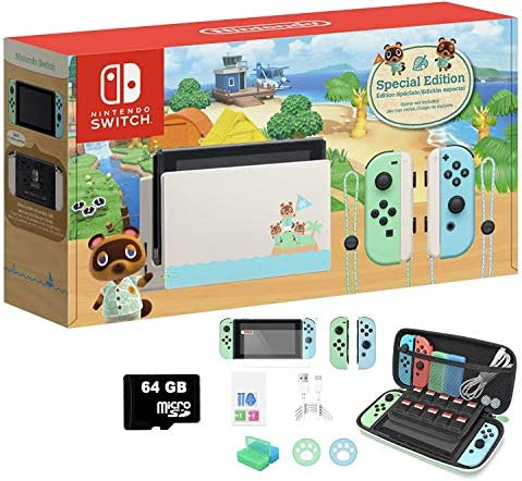 "2020 Newest Nintendo Switch Animal Crossing: New Horizons Edition 32GB Console - Pastel Green Blue Joy-Con - 6.2"" Touchscreen Display, WiFi, Bluetooth + MarXsol 13-in-1 W/ 64GB SD Card Holiday Bundle"