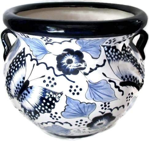 Talavera Planter Butterfly White Blue