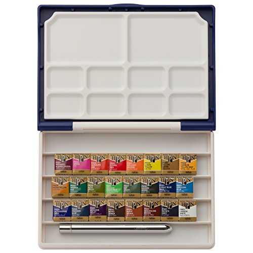 Holbein Artists' Pan 24 Colors Set ( Palm Box plus) , Half Pan Colors with Brush by Holbein