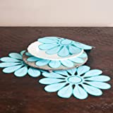 Fennco Styles Fun and Colorful Flower Traycloths Doilies, 12-inch, 4-piece Set, Aqua Blue Color