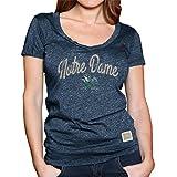vintage notre dame - Notre Dame Fighting Irish Womens Vintage Soft Triblend Script V-Neck T-shirt- Navy , Womens Small