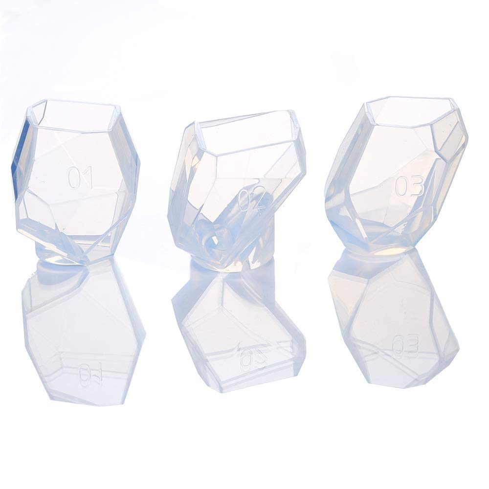 Gem Stone Crystal Mold Silicone Candle Molds 3 Shapes Large Size Resin Stone Mold for Jewelry Making, Aromatherapy Candle Making and Crafting Projects