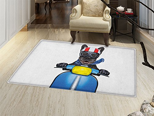 smallbeefly Dog Driver Door Mats for home Quirky French Bulldog on Scooter with Helmet Goggles Rocker Puppy Bath Mat Bathroom Mat with Non Slip Charcoal Grey Cobalt Blue