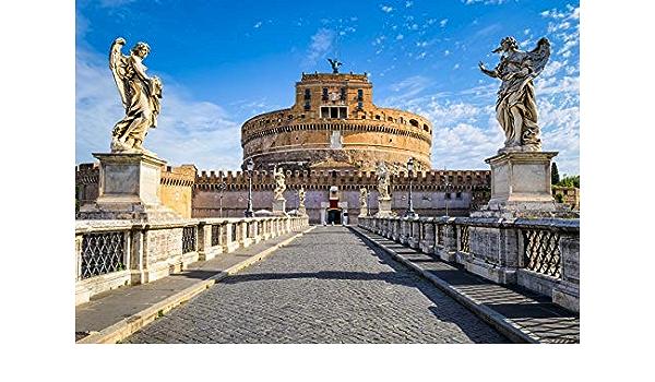 8x6FT Photography Backdrop Saint Angel Castle Background Italian Landmark Rome Landscape Archangel Vintage Catholic Church Stone Architecture European Photo Portrait Vinyl Studio Prop