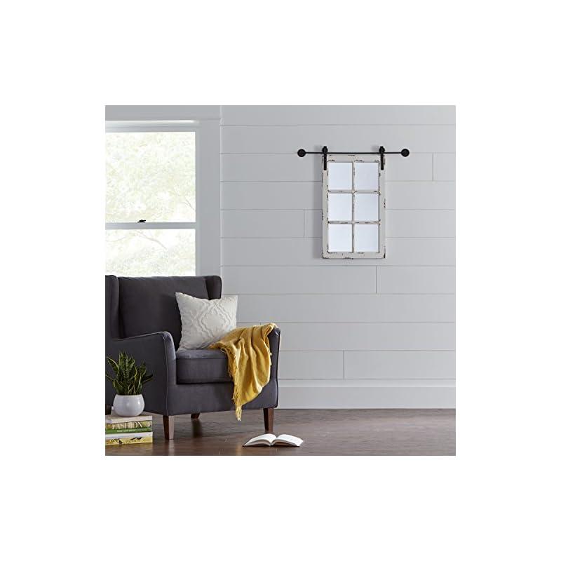Amazon Brand – Stone & Beam Vintage-Look Rectangular Barn Farmhouse Frame White Window Wood Mirror, 32.75 Inch Height…