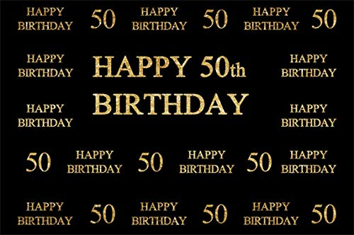 CSFOTO 6x4ft Background for Happy 50th Birthday Party Decor Photography Backdrop Word Cloud Happy Birthday Bash Ornate Noble Royal Anniversary Celebration Photo Studio Props Polyester Wallpaper