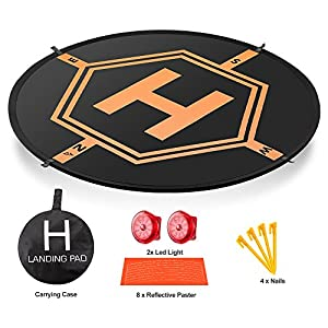 AURTEC Drone Landing Pad 32″(80cm) with [2 LED Lights] [4 ABS Land Nails] and [8 Reflective Pasters], Portable Fast-Fold RC Quadcopter Helipad for DJI Mavic Pro, Phantom 2 3 4 Pro, Inspire 2 1 & More 51bMFGOaxuL