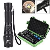 ustopfire LED Tactical Flashlight, 2000 Lumen CREE XML T6 LED Flashlight Rechargeable Torch 5 Mode with 18650 Battery 2 Chargers, Zoomable, Waterproof for Emergency Camping