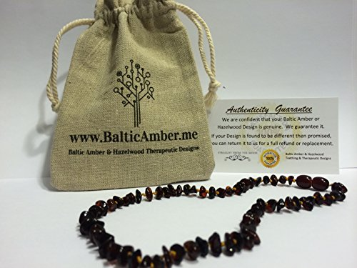 Baltic Amber 13.5 to 14 Inch Cherry Teething Necklace for Babies Toddler Girl Boy Child Big Kid Bub  - Anti Flammatory, Drooling & Teething Pain