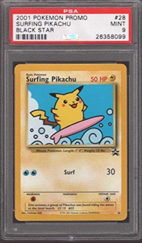 Surfing Pikachu #28 Pokemon Promo Rare 2001 Black Star PSA 9 MINT Photo