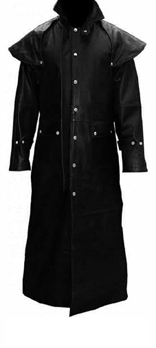 Mens Real Black Leather DUSTER RIDING HUNTING STEAMPUNK TRENCH COAT - (T7-BLK) L_T7_BLK