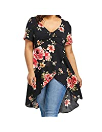 Women's Printed Short Sleeve Henley V Neck Pleated Casual Tunic Blouse Shirt tee Tops Plus Size Long Dress