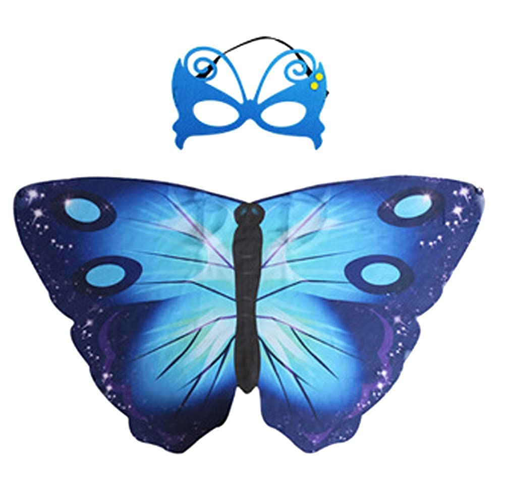 Sheliky Butterfly Wings Costume Shawl Halloween Cosutme Mask for Girls Pretend Play Party Favors