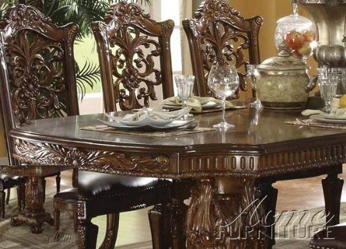ACME 60000 Vendome Double Pedestal Table, Cherry Finish (Wood Cherry Room Table Dining)