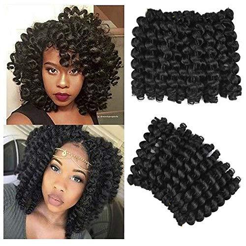 AliRobam 6Packs 8Inch Jumpy Wand Curl Jamaican Bounce Crochet Braids 20Roots African Ombre Kanekalon Synthetic Crochet Braiding Hair Extensions For Black Women (1B) from AliRobam