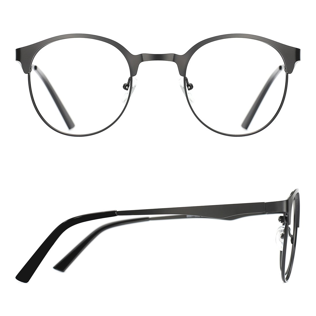 3f540171814 Amazon.com  TIJN New Round Metal Non-Prescription Glasses Frame with Clear  Lens  Sports   Outdoors