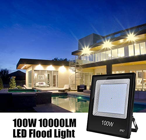 100W LED Flood Light, Catinbow 10000LM Super Bright Security Light,3000K Warm White Light, 120 Degree Beam Angle, IP67 Waterproof Outdoor Work Light for Garden Backyard Garage Playground